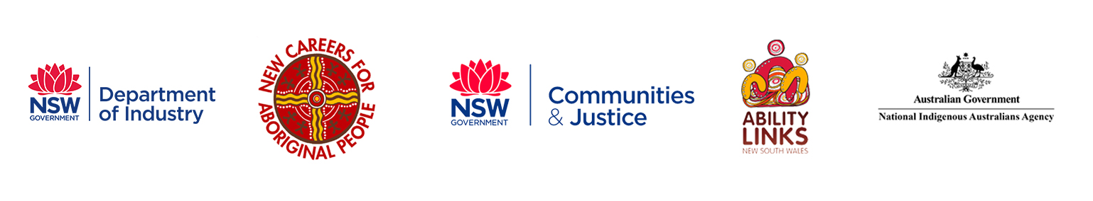 Government logos of the funding supporting bodies for Warrigal Employment